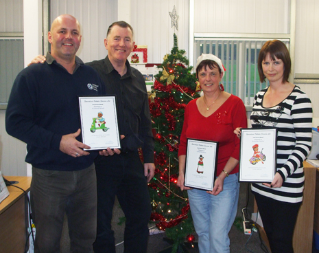 SOS Long Service Awards (from left to right) Richard Ward (11 years), Gordon McQuilton (Managing Director), Carol Walton (12 Years) and Nichola Taylor (10 years).  Congratulations