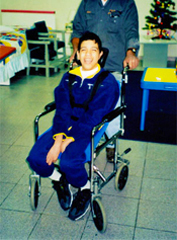 Chacho cerebral palsy sufferer After, in his new specialist seating