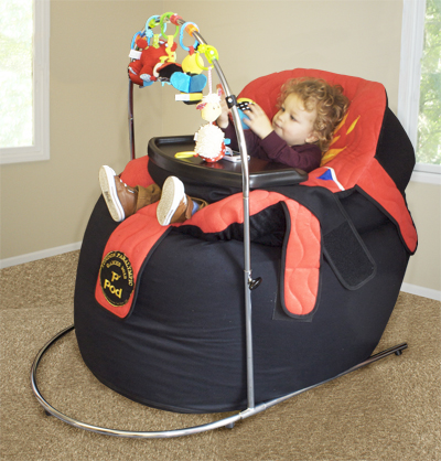 The P Pod Activity Frame has attachment points for toys so your child can play without leaving their comfy seating
