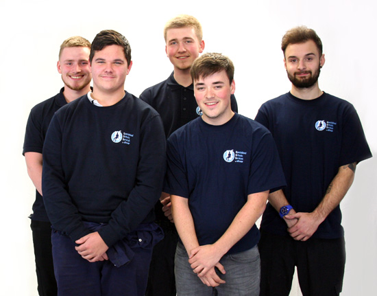 Our new apprentices: James Walker, Mick Lawrence, Levi Coleman, Jack Wardle, and Sam Shreeve