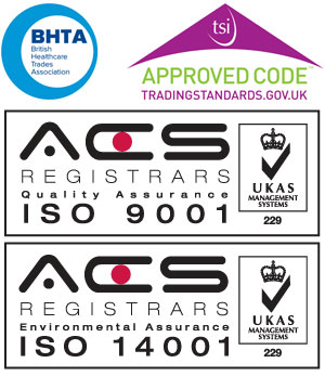 SOS is an accredited member of the BHTA. Quality Assurance to ISO 9001 and Environmental Assurance ISO 14001, ACS Registrars