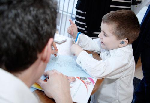 Kieron and Tom sharing design ideas.  SOS Coffee Morning, Staffordshire Childrens Centre
