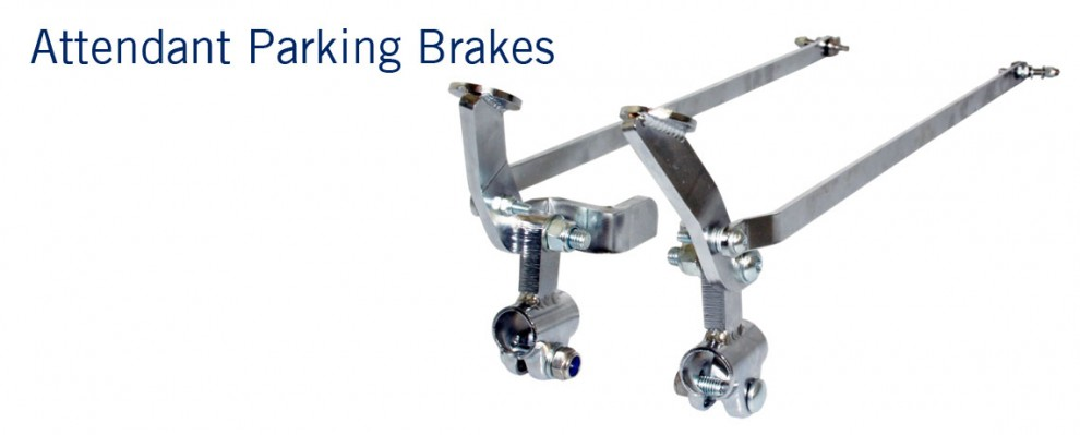 Attendant parking brakes for wheelchairs.  Convert standard wheelchair brakes to foot operated attendant brakes.