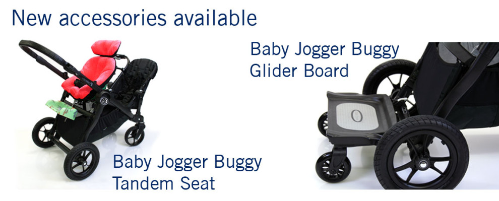 baby-jogger-buggy now available with glider board and tandem-seat accessories