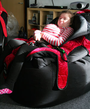 Charlotte sitting in her P Pod