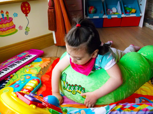 Claire Kiely enjoying playtime using Nessie from Specialised Orthotic Services