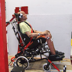 Wheelchair Crash Testing of SOS products, Our MoJo and Miko Wheelbases are crash tested