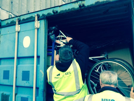 donated-wheelchairs-loaded-into-container