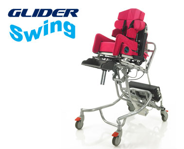 Glider Swing Height adjustable wheelchair base for indoors. Glider 'Swing' Chassis lift and lower the seat system for different functional requirements.
