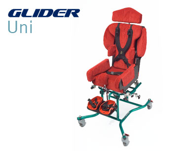 Glider Uni -easy and convenient to move indoors. Home or school environment, Tilt in space system for activity time and relaxation, indoor wheelchair base
