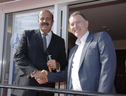 Gordon McQuilton with Snooker Legend Willie Thorne celebrating the opening of Specialised orthotic Services