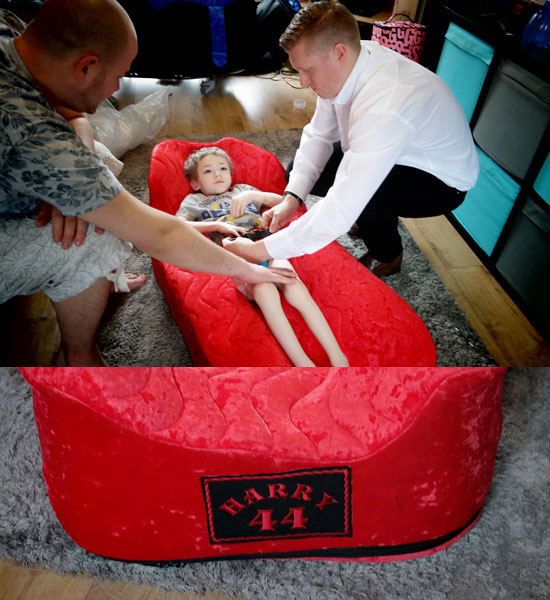 Harry trying out his new Custom Moulded Sleep Pod, Embroidered with his name and Lewis Hamilton's race number, 44.