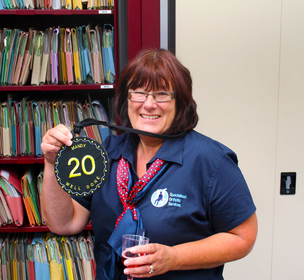 Congratulation Mandy Johnson for 20 years services at Specialised Orthotic Services, Special Seating and Mobility Products