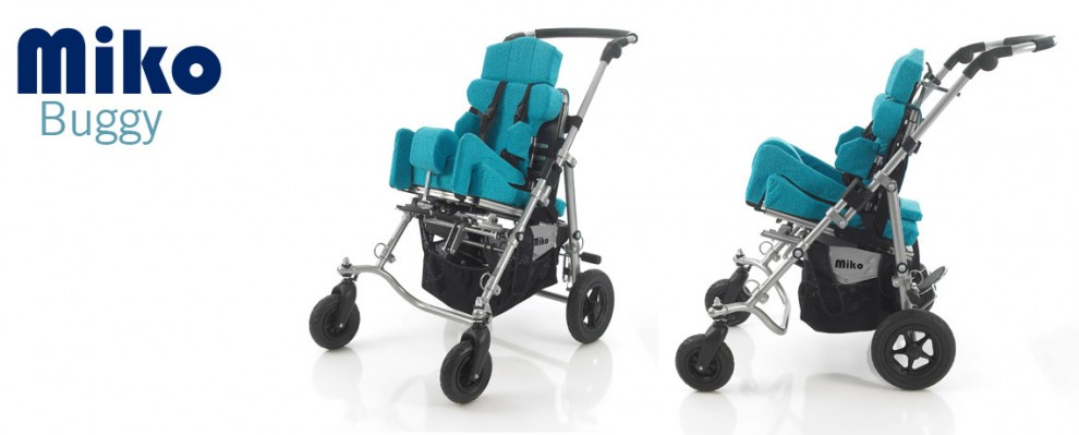 Miko Buggy style wheelchair, pushchair for special seating needs shown with BB seating system