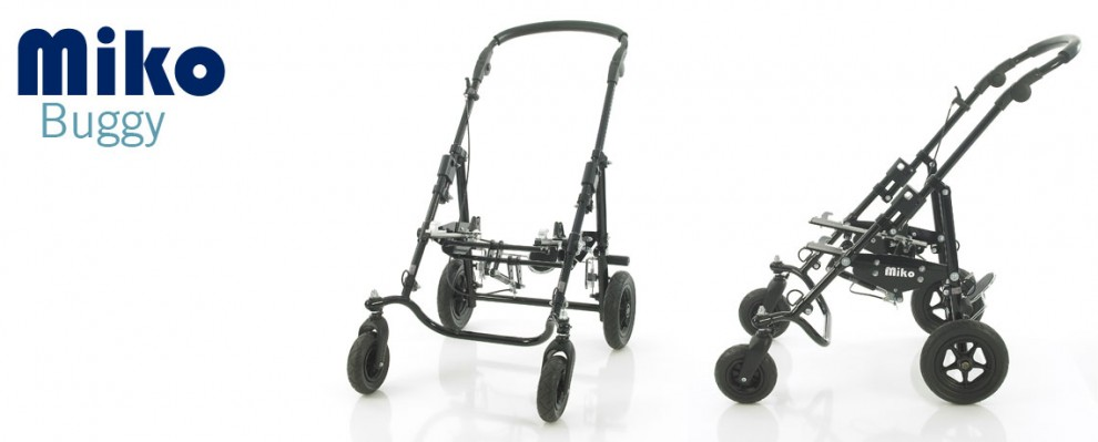 The Miko Buggy, wheelbase frame, pushchair for special seating needs shown without custom seating