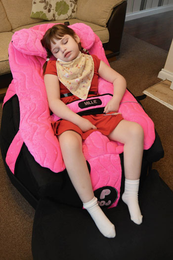 Millie Mann asleep in her P Pod from SOS