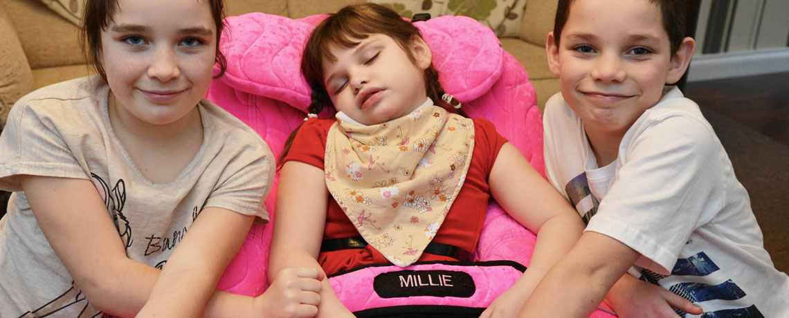 Millie Mann Fast asleep in her new P Pod from Specialised Orthotic Services