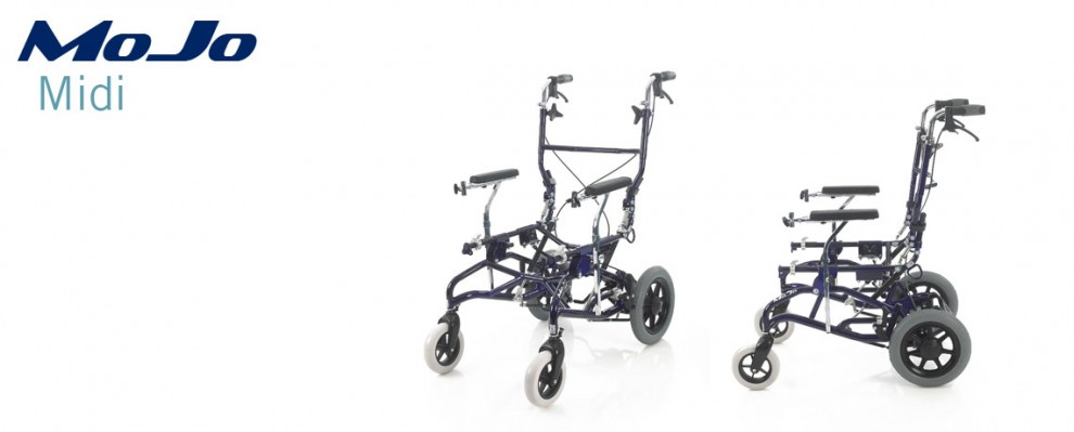 The MoJo Midi provides a bigger alternative to the Mini being suitable for larger children and young adults. Specialist wheelbase for custom seating
