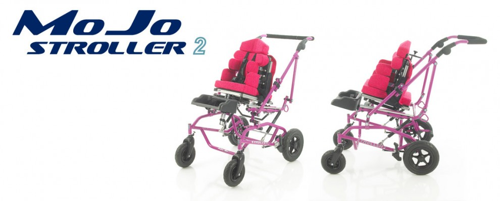 Main-stream Buggy style wheelbase for special seating. The MoJo Stroller for babies and children with complex special seating needs