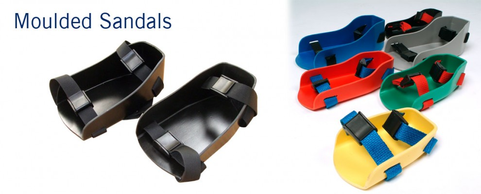Moulded Sandals for wheelchairs, available in a range of colours. Designed to fit most wheelchairs | Specialised Orthotic Services | SOS
