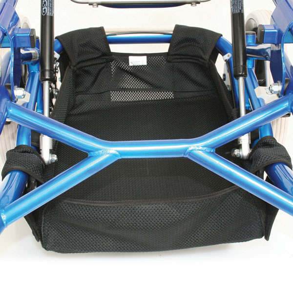 Net Carrier storage for under your wheelchair. Removable hard base available offering robust storage