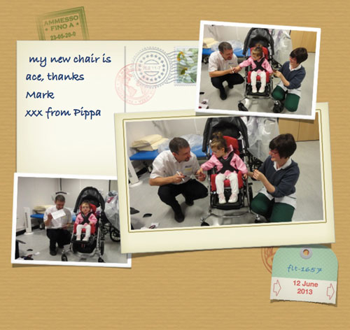 Thankyou Pippa for sending a postcard to Mark at Specialised Orthotic Services enjoying your new seating system