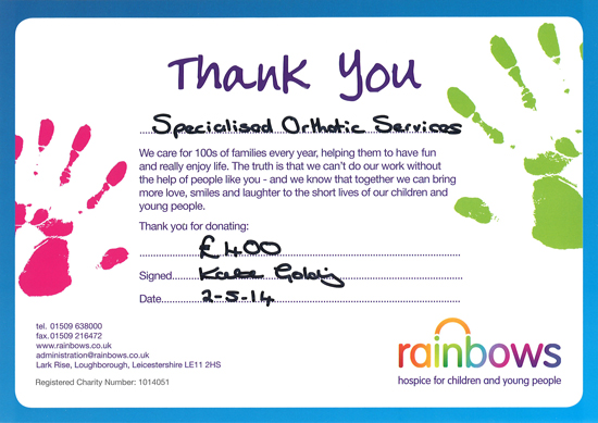 Rainbows thankyou for donating £400 and a P Pod to the childrens hospice