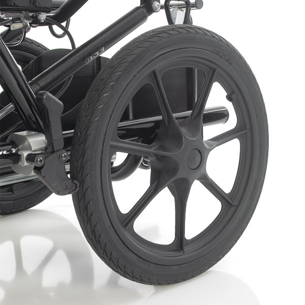 16 inch rough terrain wheels for walking outdoors and to improve handling. Available on the Mini, Midi and Maxi with Drum Brakes