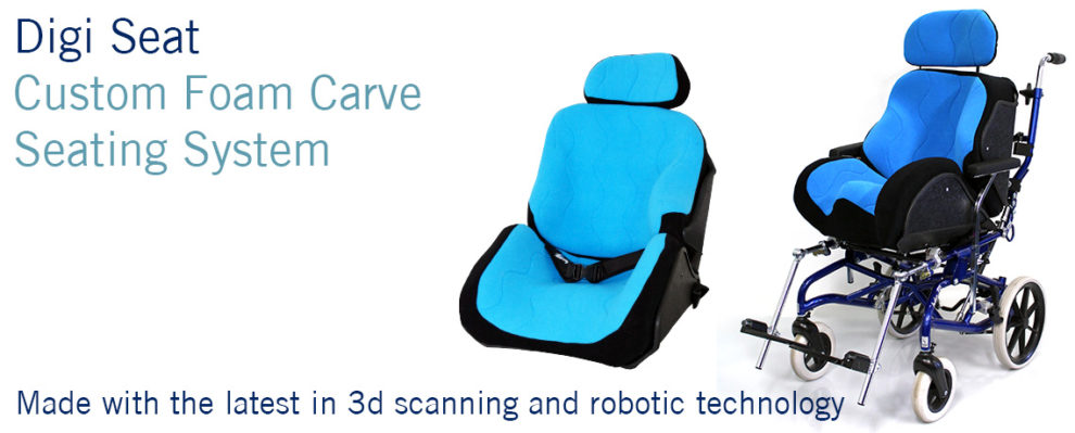 SOS Digi-Seat custom foam carve seating system. Made with the latest in 3D Scanning and Robotic Technology.