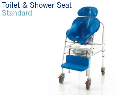 Toilet and Shower Seat | Custom moulded toilet and shower seating with fixed frame | Bathroom mobility | Continence management for children and adults | Specialised Orthotic Services | SOS